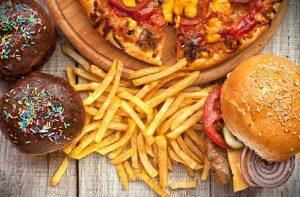 фастфууд, бургер, пържени картофки, понички, пица